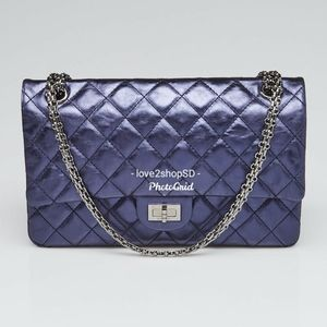 Chanel Navy Blue Metallic 226 Quilted Flap Bag